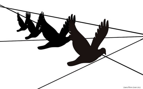 Birds Art Print featuring the digital art Birds On The Wire by Laura Pierre-Louis