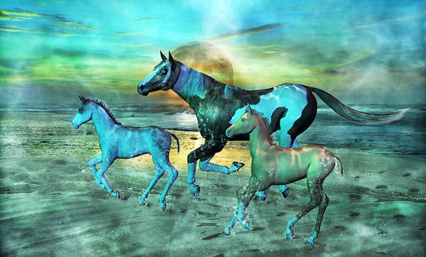 Horse Print featuring the mixed media Blue Ocean Horses by Betsy Knapp