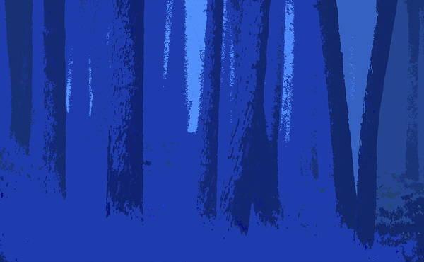 Blue Art Print featuring the digital art Blue Trees by Ronald Jansen