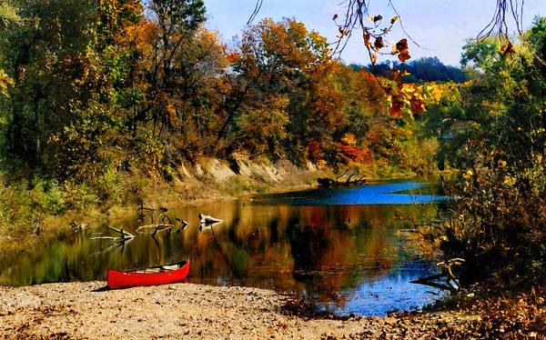Autumn Art Print featuring the photograph Canoe On The Gasconade River by Steve Karol
