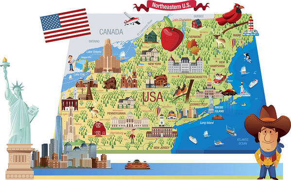 Cartoon Map Of Northeastern Us Art Print By Drmakkoy - Cartoon-map-of-the-us