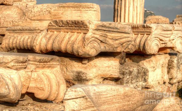 Greece Art Print featuring the photograph Columns Of The Parthenon by Deborah Smolinske