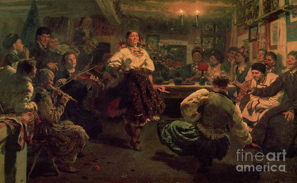 Celebration; Traditional; Dancing; Costume; Villagers; Village; Band; Music; Entertainment; Poverty; Poor; Happy; Folk; Dgt; Crt; Russia; Russian; Interior; Peredvizhniki; Peredvizhniki Group Print featuring the painting Country Festival by Ilya Efimovich Repin