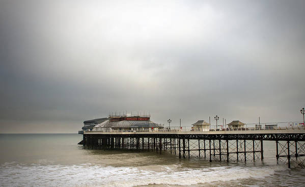Amusements Print featuring the photograph Cromer Pier On A Muggy Cold Day by Fizzy Image