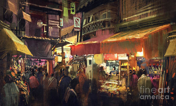 City Art Print featuring the photograph Crowd Of People Walking In The Market by Tithi Luadthong