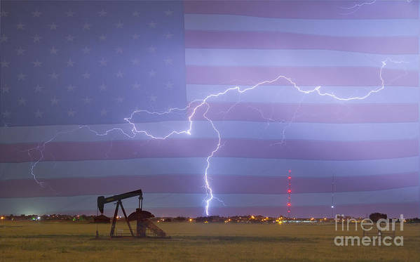 Lightning Art Print featuring the photograph Crude Oil And Natural Gas Striking Across America by James BO Insogna