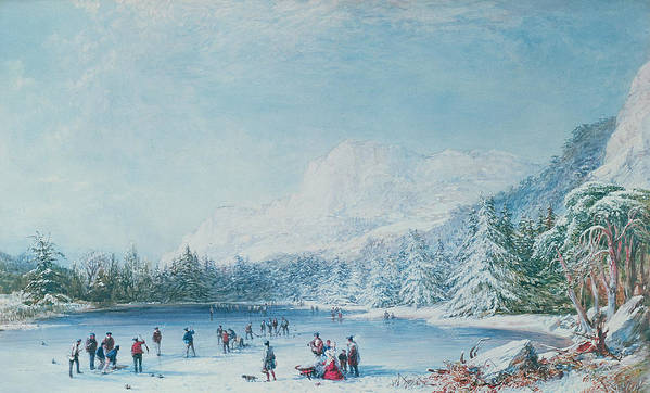 C19th Art Print featuring the painting Curling by Bernard Walter Evans