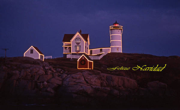 Lighthouses Art Print featuring the photograph Felize Navidad Nubble by Skip Willits