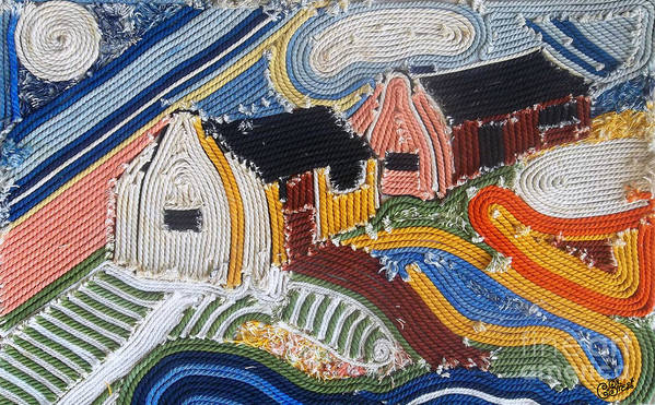 Fishing Village Art Print featuring the mixed media Fishermans Cottages String Collage by Caroline Street
