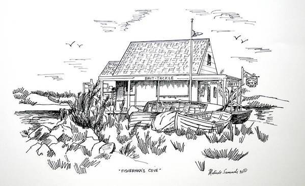Fisherman's Cove Art Print featuring the drawing Fisherman's Cove Manasquan Nj by Melinda Saminski