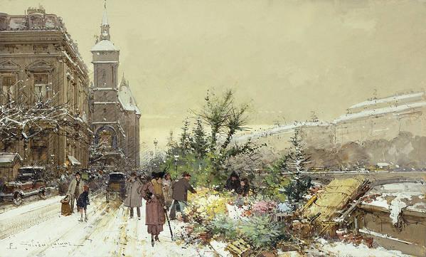 19th Century Art Print featuring the painting Flower Market Marche Aux Fleurs by Eugene Galien-Laloue