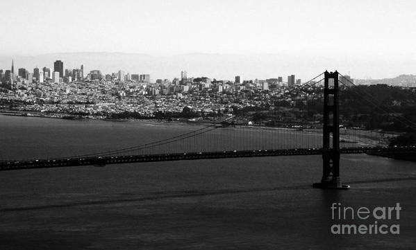 Golden Gate Bridge Art Print featuring the photograph Golden Gate Bridge In Black And White by Linda Woods