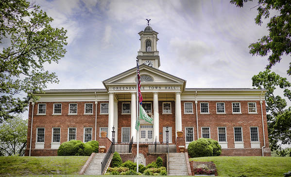 Greeneville Art Print featuring the photograph Greeneville Town Hall by Heather Applegate