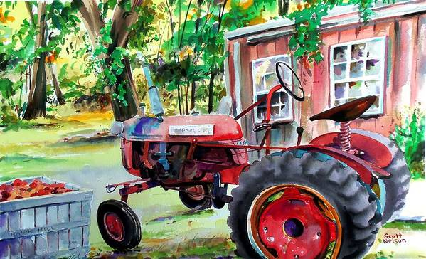 Hawk Hill Art Print featuring the painting Hawk Hill Apple Tractor by Scott Nelson