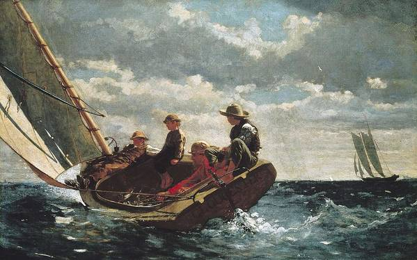Horizontal Art Print featuring the photograph Homer, Winslow 1830-1910. Breezing Up A by Everett