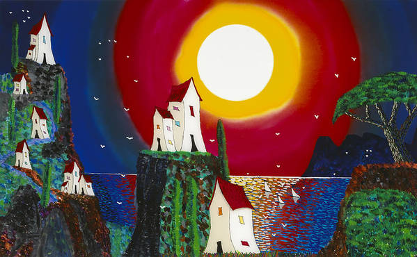 Abstract Art Print featuring the painting Idyllic Village by Patrick OLeary