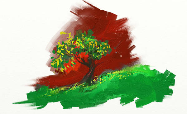 Tree Alone Green Fresh Red Sky Orange Imagine Mountains Flowers Yellow Digital Painting Strokes Seasons White Background Art Print featuring the digital art Just Tree by Anand Purohit