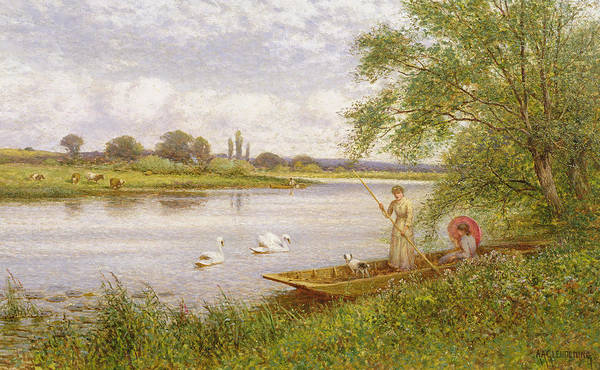 Swans Art Print featuring the painting Ladies In A Punt by Arthur Augustus II Glendening
