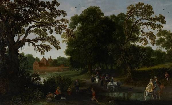 Landscape Art Print featuring the painting Landscape With A Courtly Procession Before Abtspoel Castle by Esaias I van de Velde