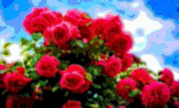 Flower-art Art Print featuring the digital art Layer Art Flower Roses by Mary Clanahan
