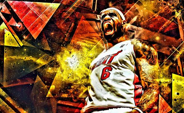 Nba Art Print featuring the painting Lebron James Art Poster by Florian Rodarte