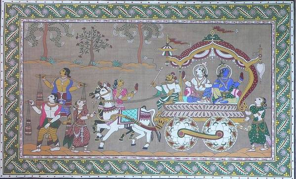 Mythological Art Print featuring the painting Lord Krishna With Brother Visiting Mathura by Prasida Yerra