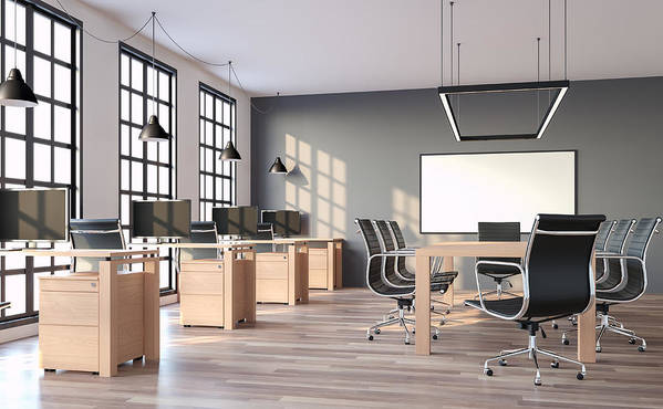 Working Art Print Featuring The Photograph Modern Loft Style Office With  Gray Wall 3d Render By