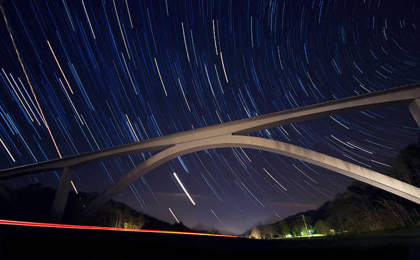 Natchez Trace Print featuring the photograph Natchez Trace Bridge At Night by Malcolm MacGregor