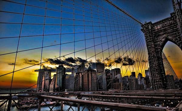 Brooklyn Bridge Art Print featuring the photograph Net Result by Tony Ambrosio