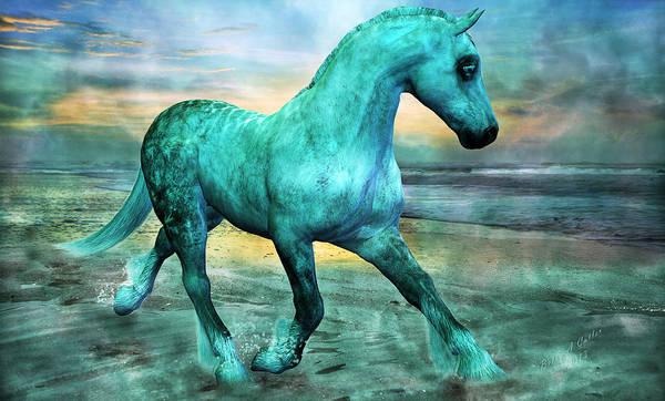 Horse Art Print featuring the mixed media Ocean Wave by Betsy Knapp