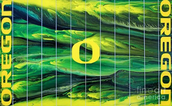 University Of Oregon Art Print featuring the painting Oregon Football by Michael Cross