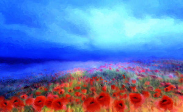 Floral Art Art Print featuring the mixed media Poppies In The Mist by Valerie Anne Kelly