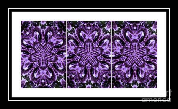 Purple Abstract Flower Garden - Kaleidoscope - Triptych Art Print featuring the photograph Purple Abstract Flower Garden - Kaleidoscope - Triptych by Barbara Griffin