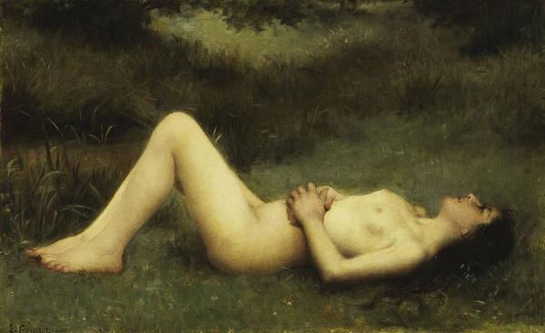 19th Century Art Print featuring the painting Reclining Nude by Louis Courtat