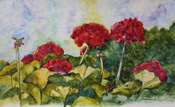 Red Geraniums Art Print featuring the painting Red Geraniums by Patsy Sharpe