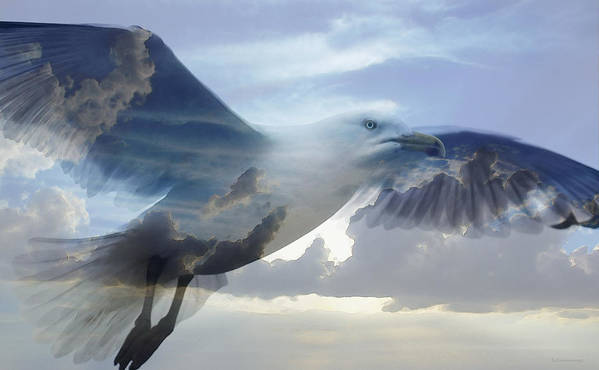 Seagull Art Print featuring the painting Searching The Sea - Seagull Art By Sharon Cummings by Sharon Cummings
