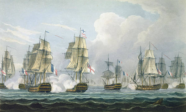 Battleships Art Print featuring the painting Sir Richard Strachans Action After The Battle Of Trafalgar by Thomas Whitcombe