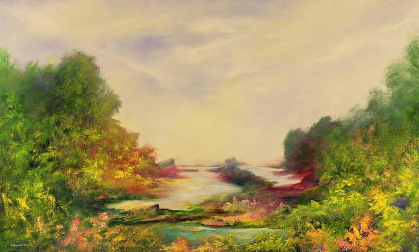 Landscape; Mystical; Dawn Print featuring the painting Summer Joy by Hannibal Mane