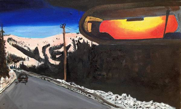 Landscape Art Print featuring the painting Sunrise In Rear View by Kendall Wishnick Adams