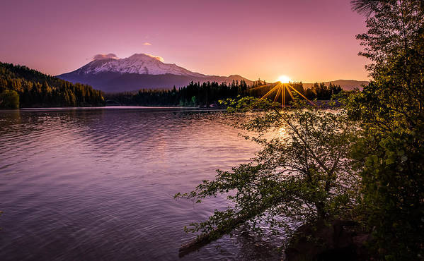 California Art Print featuring the photograph Sunrise Over Lake Siskiyou And Mt Shasta by Scott McGuire