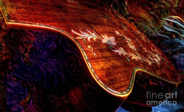 Acoustic Print featuring the photograph The Beauty Of Inlay Digital Guitar Art By Steven Langston by Steven Lebron Langston