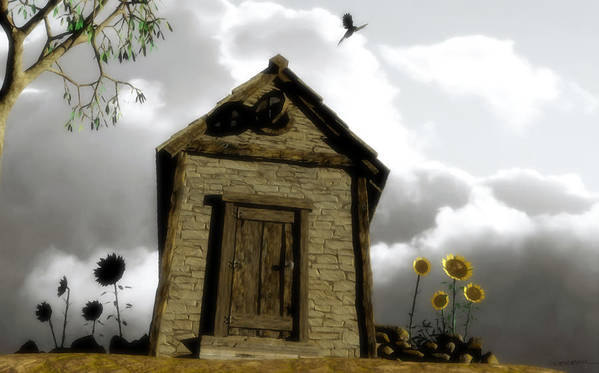 House Art Print featuring the digital art The House Of Light And Shadow by Cynthia Decker
