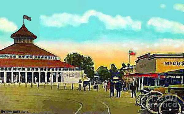 Providence Ri Art Print featuring the painting The Merry-go-round At Crescent Park In Providence Ri In 1910 by Dwight Goss