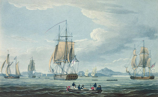 Boat Art Print featuring the painting The Prometheus And The Melpomene In The Gulf Of Riga by Thomas Whitcombe