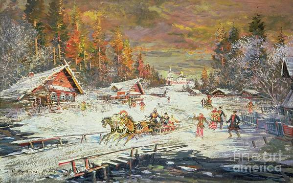 Sledge Art Print featuring the painting The Russian Winter by Konstantin Korovin
