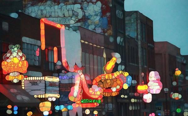 Urban Abstract Nashville Neon Art Print featuring the photograph Urban Abstract Nashville Neon by Dan Sproul