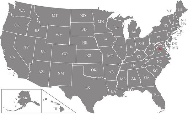 Us Map Vector Outline Illustration With Abbreviated States Names And