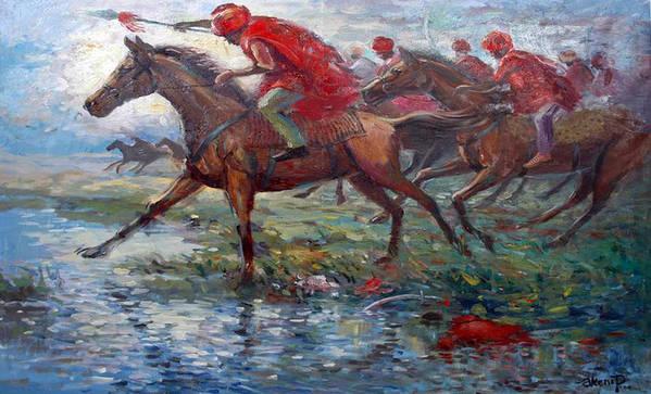 War Art Print featuring the painting Warriors In Return by Prosper Akeni