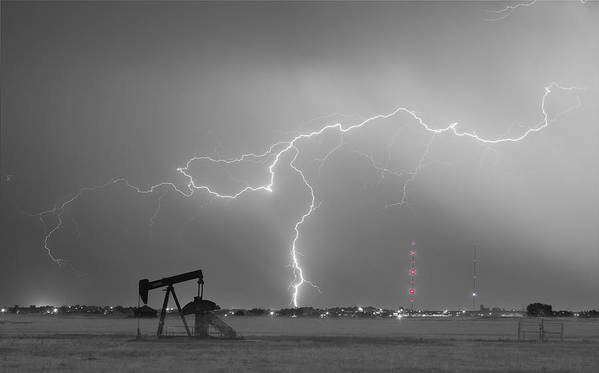 Lightning Art Print featuring the photograph Weld County Dacona Oil Fields Lightning Thunderstorm Bwsc by James BO Insogna