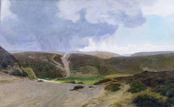 Mountain; Mountainous Print featuring the painting Scandinavian Landscape by Janus la Cour